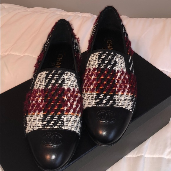 CHANEL Shoes - burgundy Chanel tweed loafers